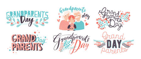 Grandparents day lettering. Different hand drawn colorful inscriptions with curly fonts and decor elements