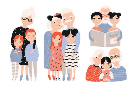 Happy grandparents with grandchildren set. Hand drawn cartoon illustrations collection