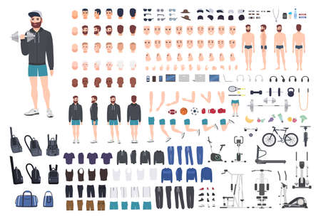 Sports guy character constructor. Bodybuilder man creation set. Different postures, hairstyle, face, legs, hands, equipment, clothes collection. Vector cartoon illustration. Front, side, back view.