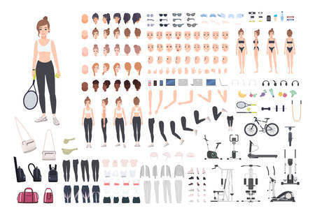 Sports girl character constructor. Fitness woman creation set. Different postures, hairstyle, face, legs, hands, equipment, clothes collection. Vector cartoon illustration. Front, side, back view.