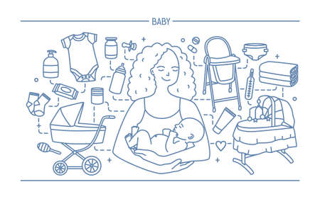 Maternity concept. Horizontal banner with mother and baby, different children s accessories. Line art vector illustration. Illustration