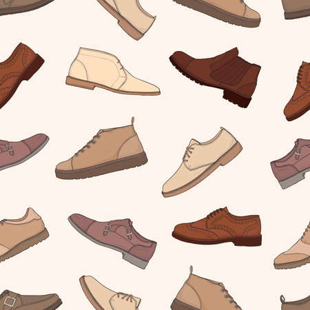 Seamless pattern with different types of men s boots and shoes. Background with hand drawn trendy fashion colorful footwear.