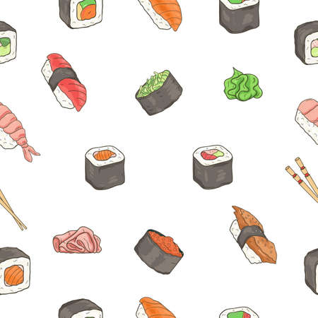 Japanese seafood sushi rolls seamless pattern. Traditional food.