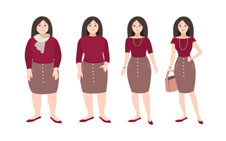 Progressive steps of young female cartoon character s body changing. Concept of weight loss through fitness workouts and proper nutrition. Vector illustration. Illustration