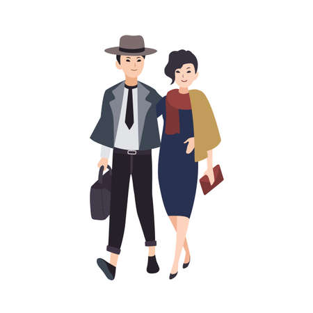 Couple of young elegant man and woman dressed in evening wear walking together. Pair of stylish hipsters going on festive party. Flat vector illustration