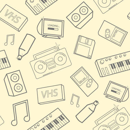 old fashioned: Stylish pattern with old school attributes, electronic devices and music instruments on yellow . Back to 90-s concept. illustration for wallpaper, website backdrop. Illustration