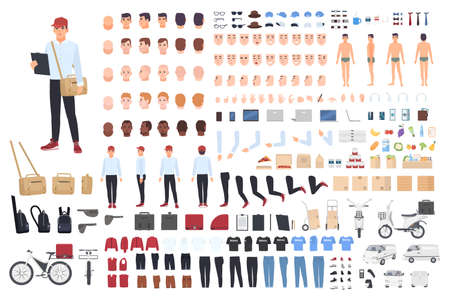 Delivery man creation set or building kit. Bundle of cartoon character s body parts in different postures, details, tools isolated on white background. Vector illustration front, side, back view.