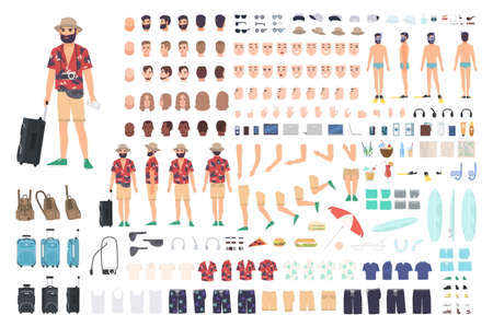 Tourist creation set or DIY kit. Collection of cartoon character s body parts, face with different emotions and skin colors isolated on white background. Vector illustration front, side, back view