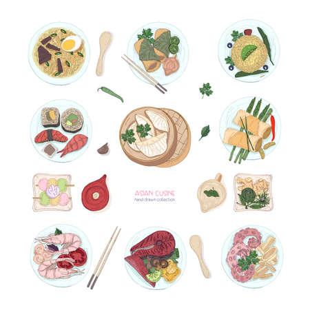 흰색 배경에 고립 된 아시아 요리의 손으로 그린 다채로운 요리의 컬렉션입니다. 맛있는 식사와 스낵, 아시아의 전통 음식 -라면, 만두, 스시. 벡터 일