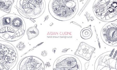 Elegantes einfarbiges Hand gezeichneter Hintergrund mit traditionellem asiatischem Lebensmittel, ausführlichen schmackhaften Mahlzeiten und Snäcken der orientalischen Küche - Woknudeln, Sashimi, gyoza, Fisch- und Meerestiergerichte. Vektor-Illustration Standard-Bild - 85570689