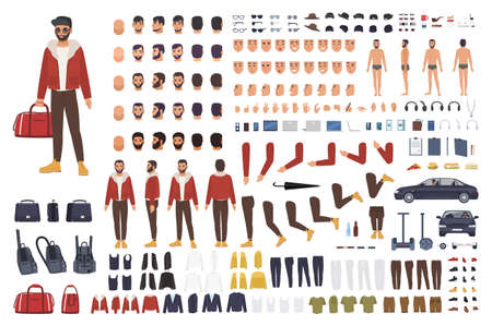 Caucasian man creation set or DIY kit. Collection of flat cartoon character body parts, facial gestures, hairstyles, clothing isolated on white background. Vector illustration. front, side, back view Фото со стока - 85573063