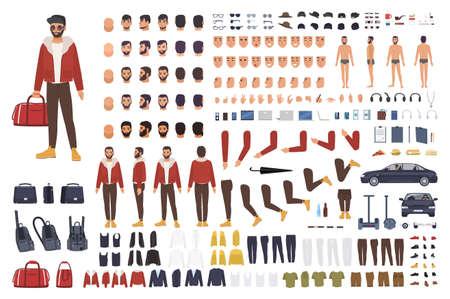 Conjunto de creación de hombre caucásico o kit de bricolaje. Colección de personajes de dibujos animados plano partes del cuerpo, gestos faciales, peinados, ropa aislados sobre fondo blanco. Ilustración del vector. frente, lado, vista posterior
