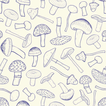 Beautiful monochrome pattern with outlines of inedible forest mushrooms. Toxic and poisonous fungus of different types hand drawn with contour lines on light illustration. Illustration