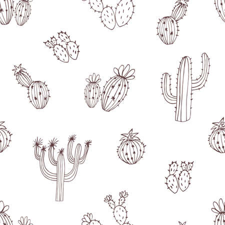 Natural pattern with hand drawn green cactus on white background. Blooming Mexican desert plants. Botanical illustration for backdrop, wrapping, textile print, wallpaper.