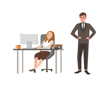 Woman office worker sits at desk with computer and sleeps, his boss angrily looks at him. Concept of fatigue at work. Cartoon vector illustration