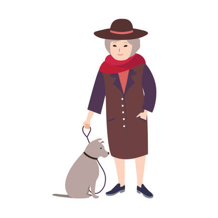 Smiling old lady dressed in elegant clothing holding in leash gray dog sitting beside her. Female cartoon character walking her pet isolated on white background. Colored vector illustration.