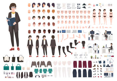 Secretary woman creation set or DIY kit. Collection of female cartoon character s body parts, face expressions, gestures, clothing and accessories isolated on white background. Vector illustration. Vettoriali
