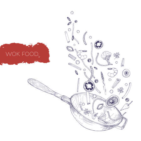 Monochrome realistic drawing of wok pan and vegetables, mushrooms, noodles, spices frying and tossing up. Chinese cooking vessel hand drawn in antique style with contour lines. Vector illustration.