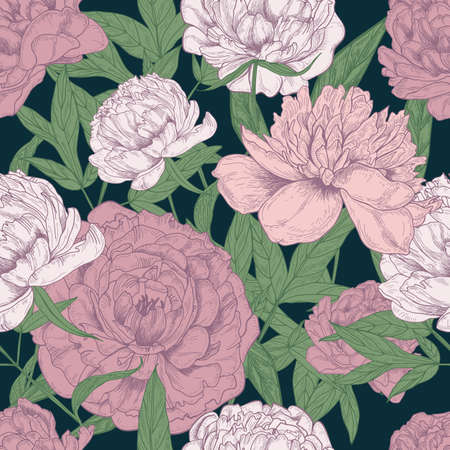 Beautiful floral seamless pattern with pink peonies and green le