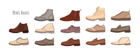 Collection of modern and stylish men s footwear - derbies, oxfords, loafers, moccasins, brogues, desert boots, boat shoes or top-siders isolated on white background. Colored vector illustration