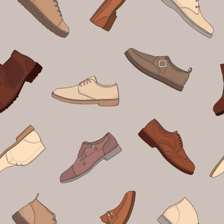 Colored seamless pattern with various types of men s footwear - derby, oxfords, loafers, moccasins, brogues, monks, desert boots, boat shoes. Vector illustration for wallpaper, textile print Illustration