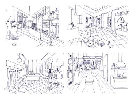 Outline drawings of clothing boutique interior with furnishings, counters, showcases, mannequins dressed in fashionable clothes. Hand drawn fashion store or trendy apparel shop. Vector illustration.