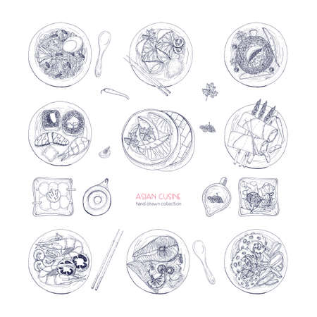 Collection of hand drawn dishes of Asian cuisine isolated on white background. Delicious meals and snacks, traditional food of Asia - ramen noodles, dumplings, sushi. Vector detailed illustration.