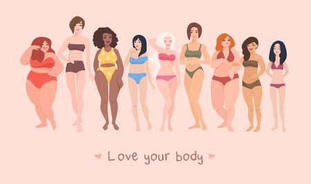 Multiraciale vrouwen van verschillende lengte, figuurtype en -grootte, gekleed in badpakken die zich in een rij bevinden. Vrouwelijke stripfiguren. Positieve lichaamsbeweging en diversiteit in schoonheid. Vector illustratie.