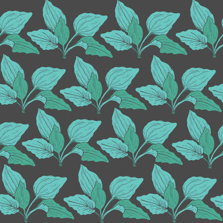 Botanical pattern with green plantain leaves on dark background.