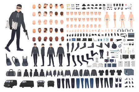 Thief, burglar or robber DIY kit. Collection of flat male cartoon character body parts in different positions, skin types, clothing and accessories isolated on white background. Vector illustration