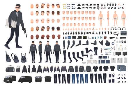 Ladrón, ladrón o ladrón kit de bricolaje. Colección de partes del cuerpo del personaje de dibujos animados masculinos planos en diferentes posiciones, tipos de piel, ropa y accesorios aislados sobre fondo blanco. Ilustración vectorial