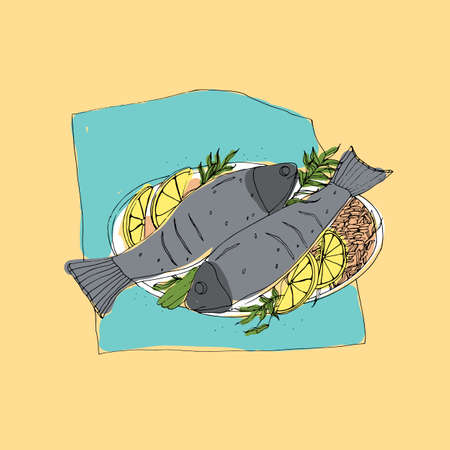 Freehand sketch of pair of grilled or roasted fish served with rice and lemon slices lying on plate. Colorful drawing of healthy, appetizing and delicious seafood restaurant dish. Vector illustration