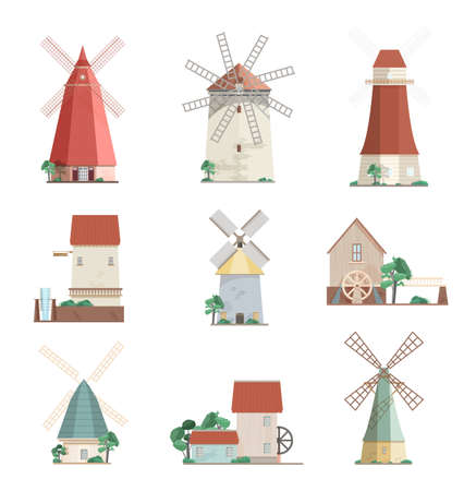watermills: Set of colorful windmills and watermills of different types - smock, tower, post mills isolated on white background. Agricultural buildings with rotating sails. Vector illustration in flat style.