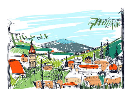 city building: Rough colorful sketch of small ancient Georgian town, buildings and trees against high mountains on background. Freehand drawing of landscape with settlement located on hillside. Vector illustration