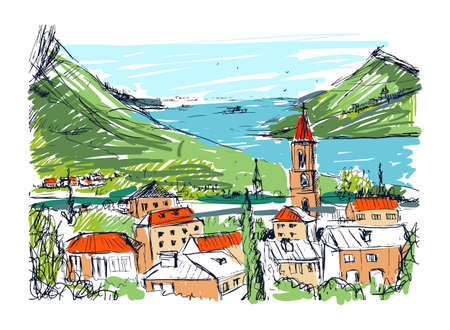 Colored hand drawn landscape with old Georgian town, mountains and harbor. Beautiful colorful freehand sketch with buildings and streets of small city located near sea and hills. Vector illustration