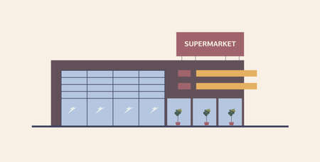Supermarket, shopping mall or big box store built in contemporary architectural style. Modern building with large windows. Commercial property for retail or real estate. Flat vector illustration Ilustrace