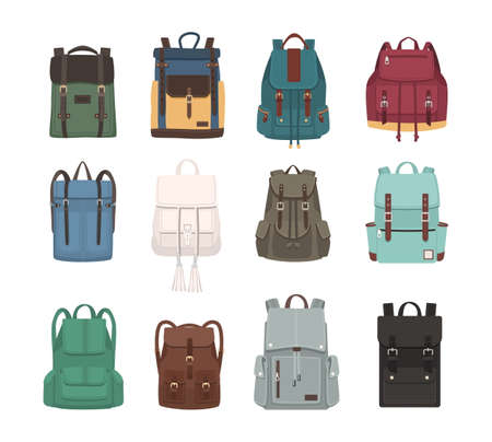 pocket size: Large collection of fashionable backpacks or rucksacks. Modern casual and touristic accessories of different types and colors isolated on white background. Colorful flat vector illustration.
