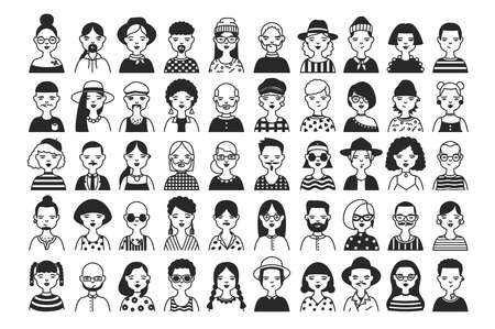 Large collection of male and female cartoon characters or avatars with different hairstyles and accessories hand drawn with contour lines in black and white colors. Monochrome vector illustration