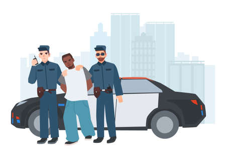 Two policemen in uniform standing near police car with caught criminal against city buildings on background. Arrested thief escorted by pair of cops. Cartoon characters. Colorful vector illustration Illustration