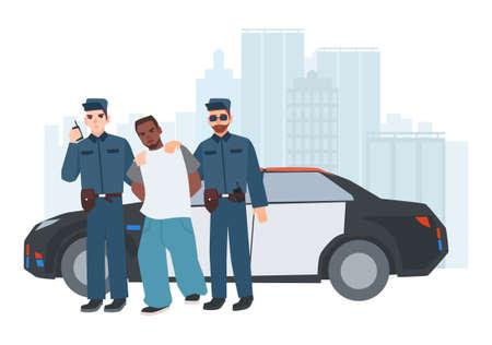 Twee politieagenten in eenvormige status dichtbij politieauto met gevangen misdadiger tegen stadsgebouwen op achtergrond. Gearresteerde dief geëscorteerd door politiepaar. Stripfiguren. Kleurrijke vectorillustratie