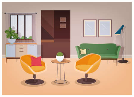 Modern interior of living room full of comfortable furniture and home decorations - comfy couch, armchairs, coffee table, house plants, floor lamp, wall pictures. Vector illustration in flat style