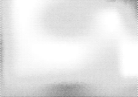 Modern horizontal halftone monochrome background with unevenly distributed dots of different size. Simple grunge gradient dotted texture. Abstract vector illustration in black and white colors. Çizim
