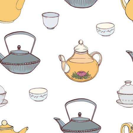 Elegant seamless pattern with hand drawn traditional Japanese tea ceremony attributes - cast-iron kettle Tetsubin, teapot, cups or bowls. Colorful vector illustration for textile print, wallpaper. Illustration