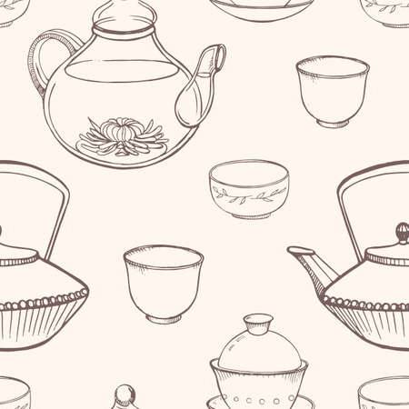 Gorgeous seamless pattern with traditional Asian tea ceremony tools hand drawn in monochrome colors with contour lines - teapot, cups or bowls, kettle. Vector illustration for fabric print, wallpaper. Illustration