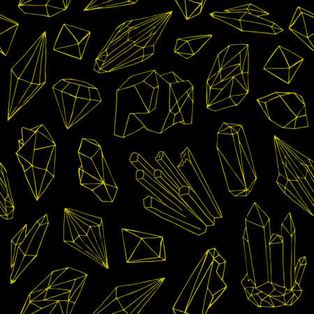 Seamless pattern with beautiful gems, crystals or precious stones hand drawn with yellow contour lines on black background. Natural vector illustration for wallpaper, backdrop, textile print.
