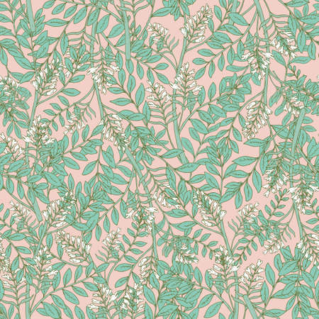 Gorgeous floral seamless pattern with acacia inflorescences and leaves. Tender blooming white flowers on pink background. Botanical vector illustration in art deco style for textile print, wallpaper