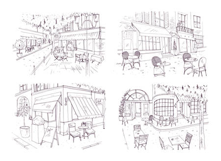 Collection of freehand sketches of outdoor cafe or restaurant with tables and chairs standing on city street beside buildings and trees. Ilustração