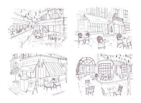 Sammlung von Handskizzen von Outdoor-Café oder Restaurant mit Tischen und Stühlen auf der Straße neben Gebäuden und Bäumen stehen. Standard-Bild - 86847611