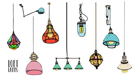 Collection of different colored loft lamps or light fixtures isolated on white background. Hand drawn old-fashioned ceiling lightings, retro home interior decorations. Colorful vector illustration. Illustration