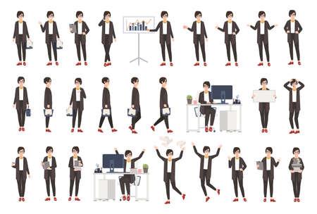Donna d'affari o impiegato femminile in abbigliamento casual in diverse posture, stati d'animo, situazioni e avendo varie emozioni in personaggio dei cartoni animati di stile piano.